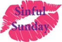 Logo of some pink lip marks with the word Sinful Sunday across the middle