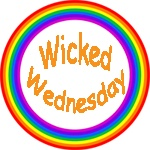 Wicked Wednesday logo in a rainbow circle