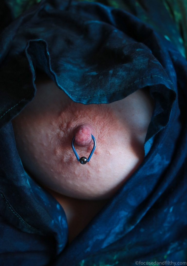 Blue Teardrop Nipple Ring #SJC 117