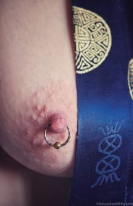 Blue and Gold Nipple Ring #SJC 122