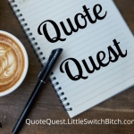 Quote quest logo  with the words written on a notepad and a pen next to them