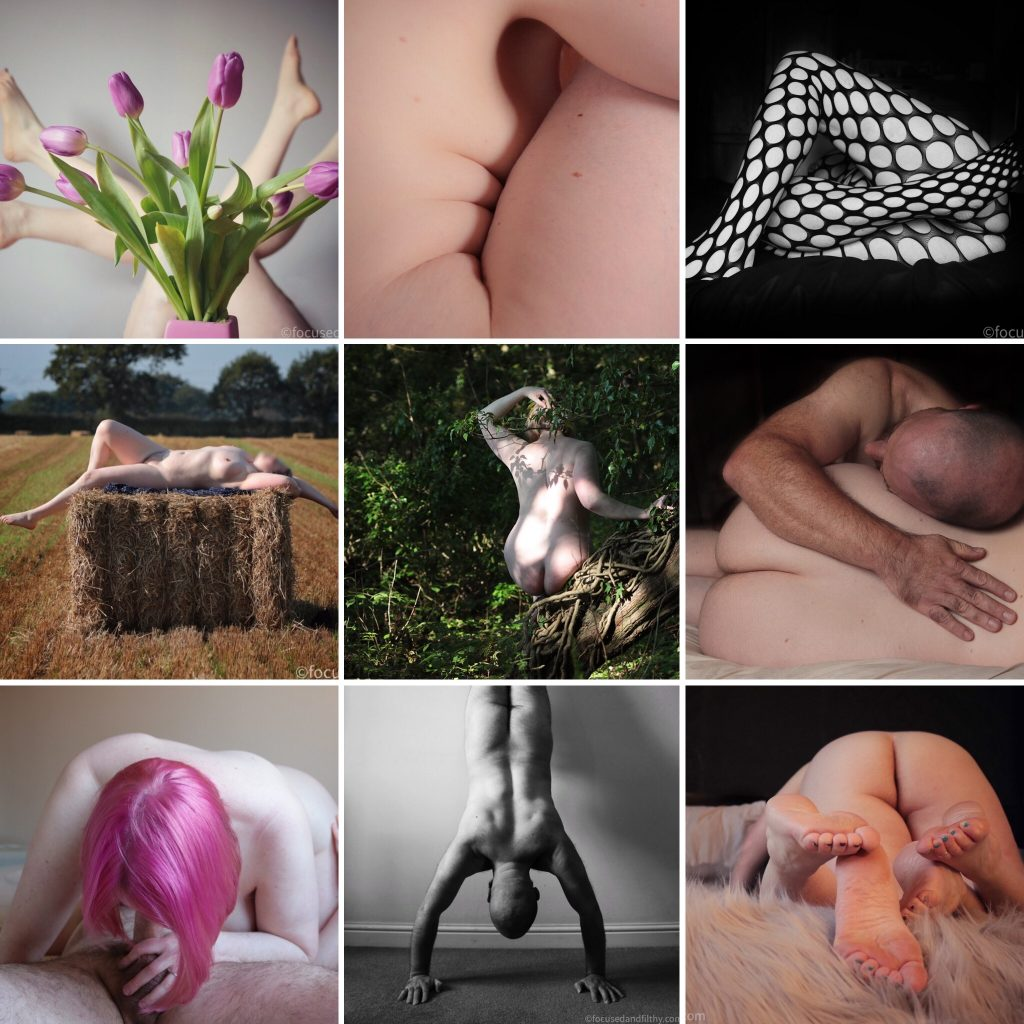 Collage of nine photographs previously on my blog including a pink haired blowjob, naked on a haybale, legs and tulip.