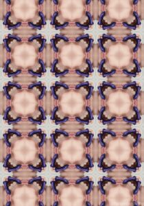 A colour kaleidoscopic image with a repeating square pattern using an photograph that contains a purple dildo and lots of skin colour