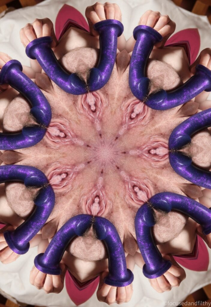 A kaleidoscopic style image like a star made up of an image which contained a hand holding a purple dildo and a pink cunt
