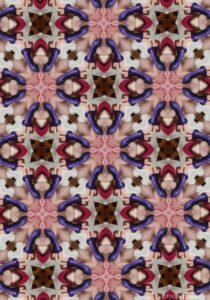 Coloured kaleidoscopic image in a repeated star pattern from a photograph containing a purple dildo and cunt